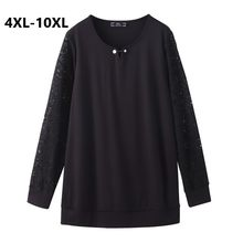 Plus Size 10XL 8XL 6XL 4XL Women Spring Tshirts Long Sleeve Black Lace Patchwork Sliming Shirt Big Size Shirt Femininas(China)
