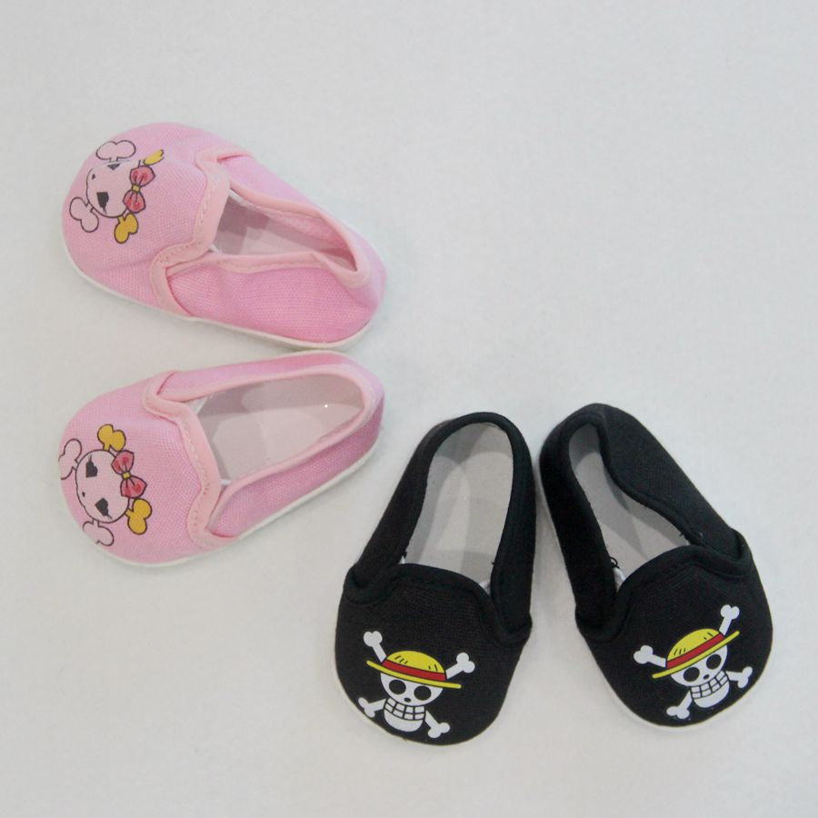 7cm Flat Sport Doll Shoes For 18 Inch  Toy Cartoon Pirate Canvas Socks Dolls Accessories American