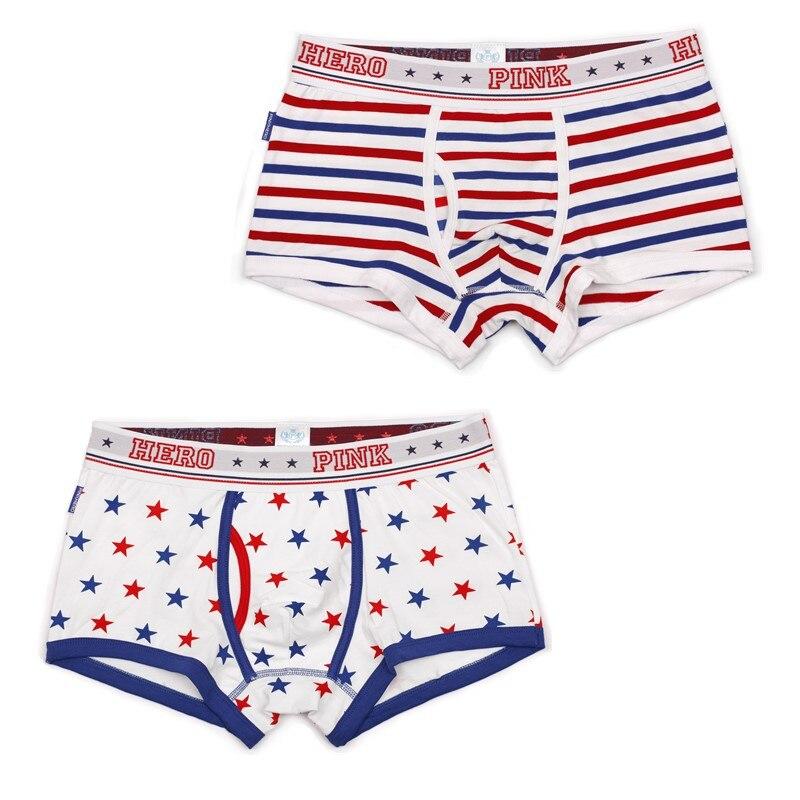 2pcs/lot Pink Hero Mens Boxers Cotton Stars Stripe British Van USA Mans Underwear Middle Waist Male Shorts Short Pants 1254B