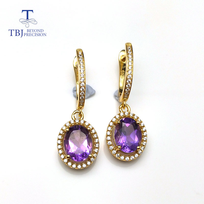 TBJ Natural african amethyst 3 5ct gemstone clasp earring solid 925 sterling silver yellow gold color