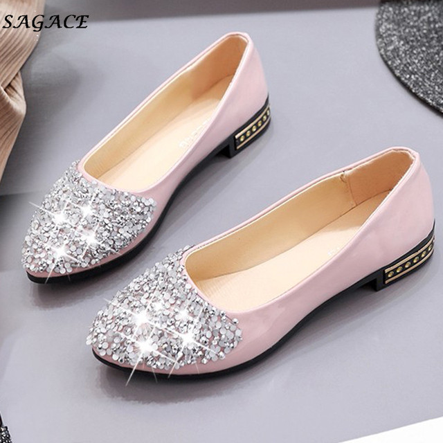 c831c4013275f8 CAGACE Shoes Women Spring autumn 2.5cm Horseshoe Women Bling Rhinestone  Ladies Pumps Comfort Wedges High Heels Pointed Shoes