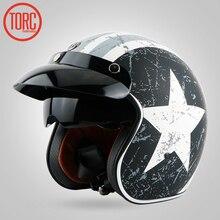 TORC capacete Da Motocicleta capacete de Motocross/Moto Jet capacete Vintage/Aberto rosto retro 3/4 meio capacete/T57, ECE Frete grátis