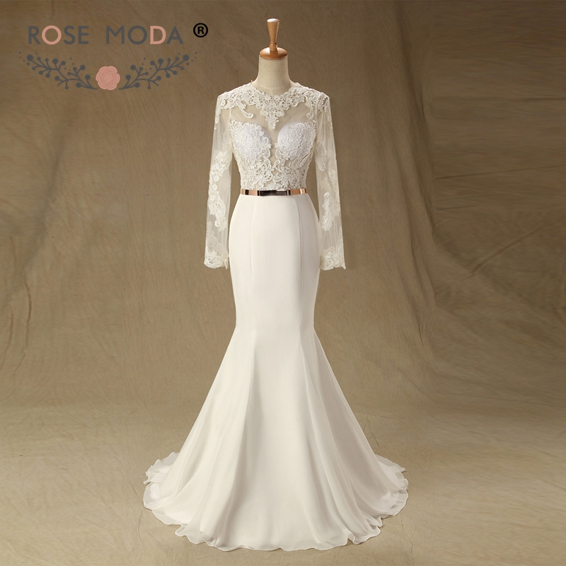 Rose Moda Lace Mermaid Wedding Dress 2019 Long Sleeves Backless Wedding Dresses Boho with Gold Belt