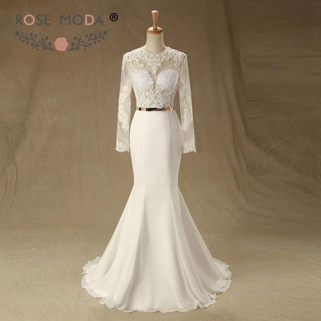 Rose Moda Lace Mermaid Wedding Dress 2018 Long Sleeves Backless ...