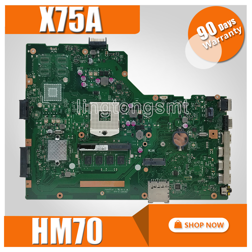 X75A Motherboard HM70 For ASUS X75V X75VC X75VB X75VD X75VD1 R704V Laptop motherboard X75A Mainboard X75A Motherboard test ok sheli original x75vd laptop motherboard for asus x75v x75vd motherboard tested mainboard in stock motherboard 100% work
