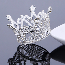 TDQUEEN Tiaras and Crowns Silver Plated Full Round Crystal Rhinestone Wedding Hair Accessories for Women