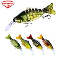 4pc/lot 7 Sections Fishing Lure 11.2cm/4.4 0.49oz/14g Swimbait Fishing bait 6# Black Hook Fishing Tackle HS005