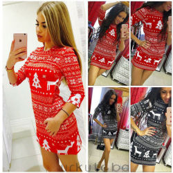 Women's Winter Knitted Christmas Dress Ladies Costume Jumper Sweater Dress 5