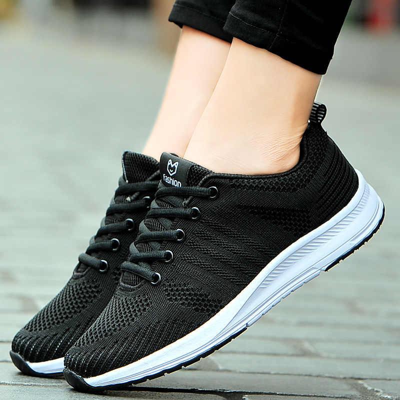 Hızlı Teslimat Kadınlar rahat ayakkabılar Moda Nefes Yürüyüş Örgü Lace Up düz ayakkabı Ayakkabı Kadın 2019 Tenis Feminino Sepeti