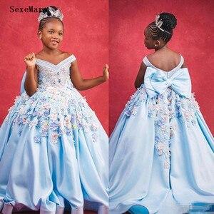Милые платья с открытыми плечами для девочек, держащих букет невесты на свадьбе, пышные Детские платья в пол, 3D Цветочная аппликация, платье ...