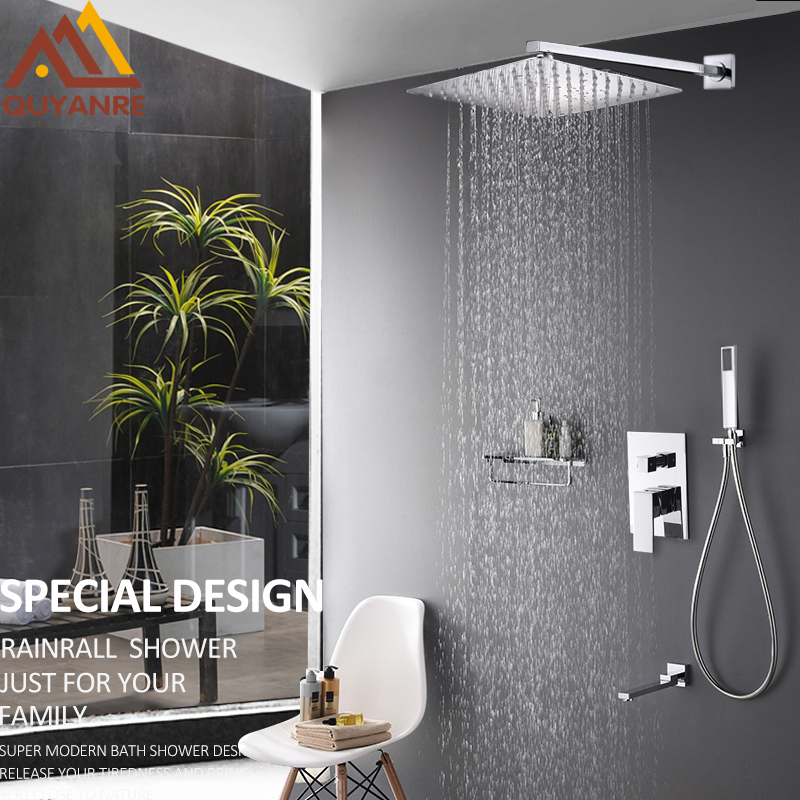Quyanre Wall Mount Bathroom Rain Waterfall Shower Faucets Set Concealed Chrome Shower System Bathtub Shower Mixer Faucet Tap
