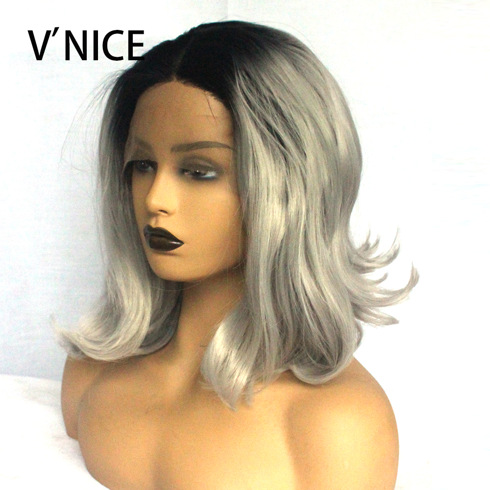 Short Style Bob Wig Black Ombre Grey Glueless Hand Tied 3 Inches Lace Part Space Heat Resistant Daily Synthetic Lace Front Wigs