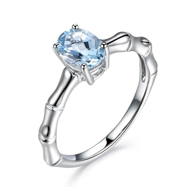SHUANGR Fashion Light Blue Stone Wedding Rings Size 6 7 8 9 10