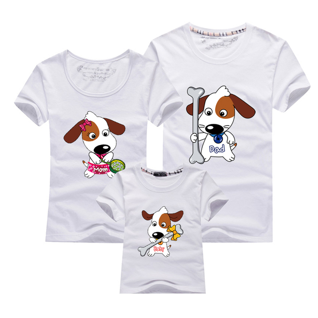 65220a87 2018 New Family Dog t-shirt Couple T Shirts Men Women Baby Clothing Parent-Child  T-shirt Cartoon Couple Shirts For Lovers