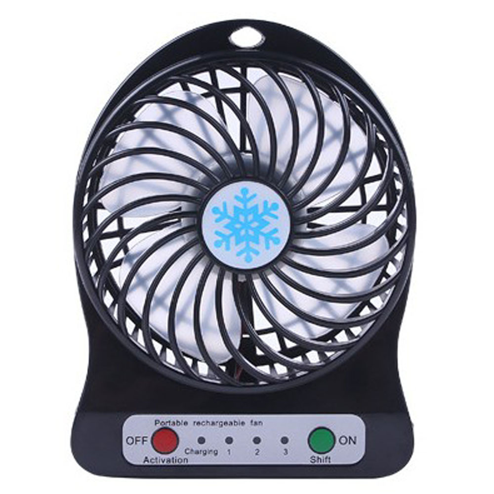 Mini 4 Blade Fan Portable Rechargeable LED Fan air Cooler Mini Operated Desk USB Charging Quiet Work Home Office 18650 Battery