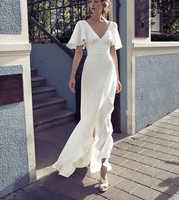 Ensotek v-neck praia vestidos de casamento 2019 vestido noiva praia simples babados casamento boho vestidos de noiva personalizado assimétrico