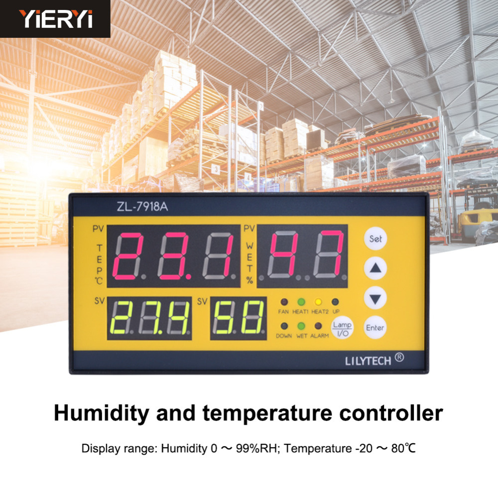 Yieryi <font><b>ZL</b></font>-<font><b>7918A</b></font> digital Incubator Controller Temperature and Humidity Controller for Poultry Egg Incubator, Mushroom Cultivation image