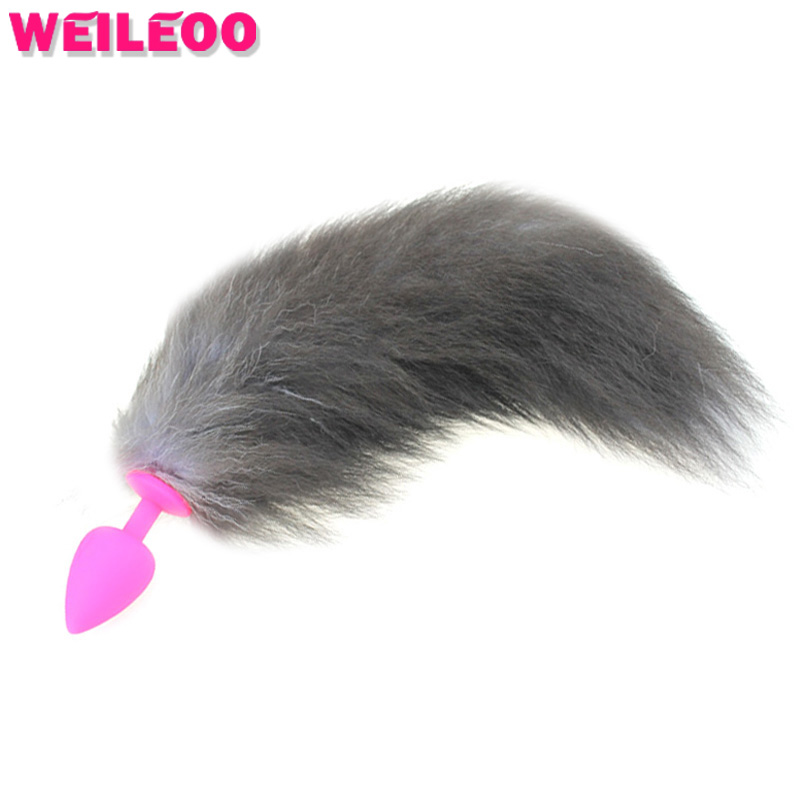 silicones cat tail anal plug tail fox tail butt plug anal font b toys b font