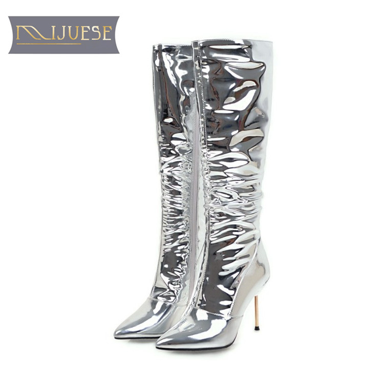 MLJUESE 2018 women knee high boots winter warm boots pointed toe short plush zippers silver color high boots size 34-43