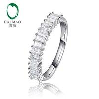 CaiMao Половина Вечность натуральный 0.57ctw багет бриллиантов 14 К белого золота Обручение обручальное