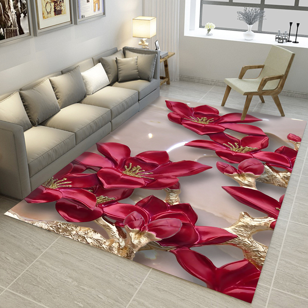 3D Carpets Chinese National Flower Ink Painting Living Room Bedroom Rug Sofa Coffee Table Mat Yoga Pad Custom Christmas Decor