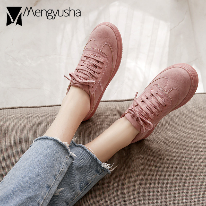 Brand Pink Shoes Woman Comfortable Espadrilles Creepers Lace-up Students Shoes Thicken Bottom Platform Tenis Flats Ladies Shoes
