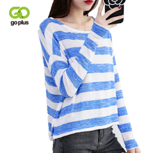 GOPLUS Knitted Sweater Women Casual Blue Summer O-Neck Long Sleeve Thin Tops Womens Sueter Mujer invierno 2019 C8072