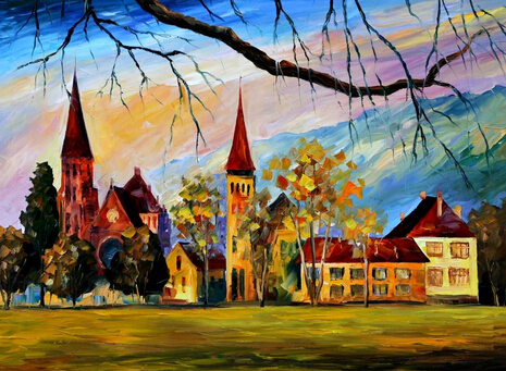 Top Artists High Skill Hand painted Village Scenery Oil