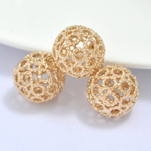 6PCS 12MM 24K Champagne Gold Color Plated Brass Hollow Twisted Round Spacer Beads High Quality Diy Jewelry Accessories