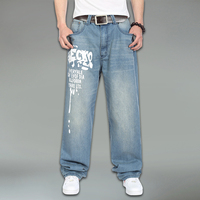 cotton men jeans large size  famous brand hip hop fashion casual jeans size 30-46