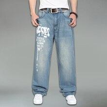 Хлопок мужчин джинсы большой размер известный бренд хип-хоп мода повседневная джинсы размер 30-46