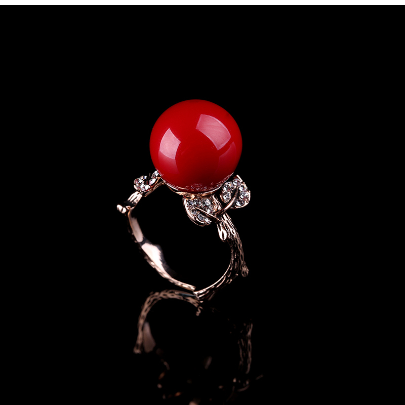 K'S Naprava prirodni umjetni koraljni prsten crveni koraljni prsten - Modni nakit - Foto 3