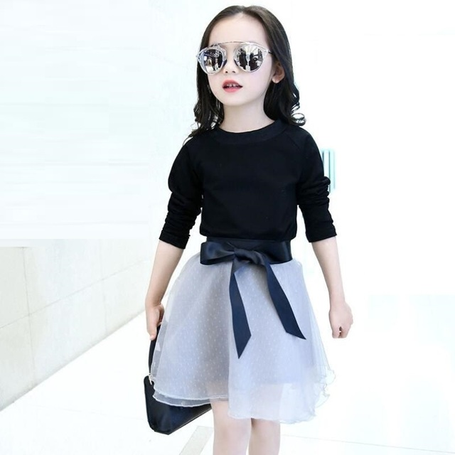 cf9063f67 Moda Primavera 2018 Crianças Da Criança Adolescente Conjunto de Roupas  Meninas Conjuntos de roupas de Manga