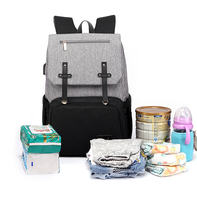 New Fashion With USB Mummy Daddy Diaper Bag Pure Large Waterproof Nursing Bag Travel Backpack Stroller Baby Care Nappy Bag 2