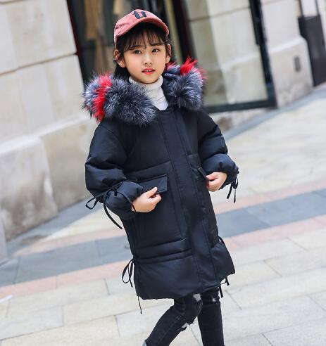 Fashion Girls Winter Jacket 2018 New Kids Thick Down Jackets Girl Fur Collar Hooded Long Outerwear Coats Warm Children Clothes стоимость