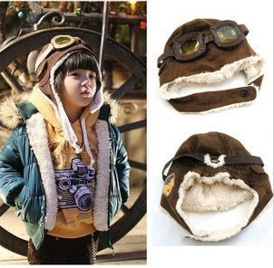 93fb6994fa991 Winter Cool Kids Aviator Hat With Glasses Black Brown Sheepskin Wool one  Boys Snow Cap With Ear Flaps Kid Hats Adjust Size CP055-in Hats   Caps from  Mother ...