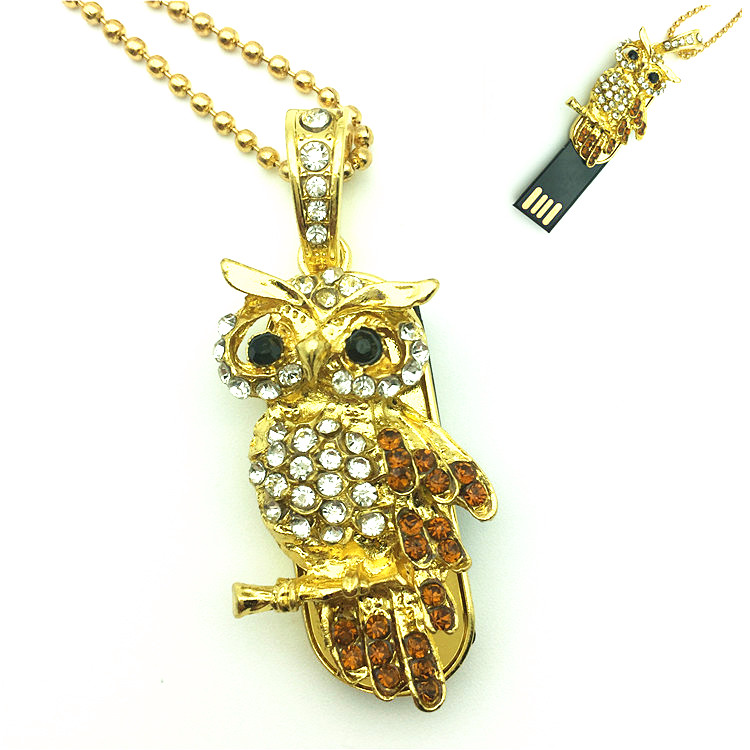 2017 Hot Sale USB Flash Drive Diamond Metal Material Owl Cartoon USB 2.0 Flash Drive U Disk to 4 GB 8 GB 16 GB 32 GB flash drive