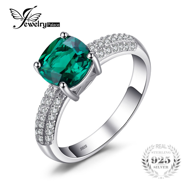 jewelrypalace 17 ct cushion cut created emerald wedding bands 925 sterling silver engagement rings for women - Emerald Wedding Rings