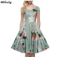 Oxiuly Plus Size 4XL 5XL Women 50s 60s Audrey Hepburn Vintage Rockabilly Floral Swing V Neck