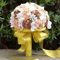 Romântico Da Fita de Rosa Flores Artificiais Buquê de Noiva Broche Buquê de Casamento de Alto Grau de Diamante Pérola Frisado Jogar