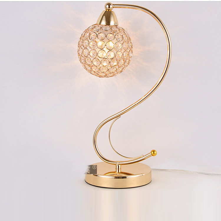 Modern Golden S Shape Crystal Table Lamps Luxury Steel Ball Bedroom Beside Light Study Room New Fashion Desk Lamp In From Lights