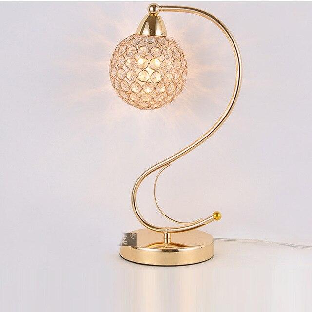 Modern Golden S Shape Crystal Table Lamps Luxury Steel Ball Bedroom Beside Light