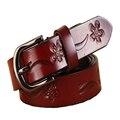 Mujer de la Impresión Floral de Cuero 100% Cuero Genuino Cinturón de Hebilla Hebilla Hembra de la correa de La Vendimia Vaqueros de Cintura Faja Cinturón de Regalo de La Correa