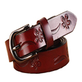 Woman Print Floral Leather Belts 100% Genuine Leather Belt Buckle Pin Buckle Female Vintage Waistband Jeans Sash Belt Strap Gift
