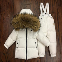 2018 winter down jacket parka for girls boys Russian Suits Boys Girl Duck Down Jacket+overalls 2 Pcs Clothing Set Kids Snow Wear