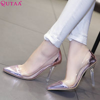 QUTAA 2019 Fashion Women Pumps Women Shoes Platform Slip on Pu Leather Thin High Heel Pointed Toe Women Pumps Size 34 43