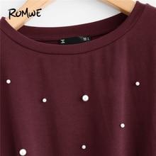 Women T-Shirt Pearl Beaded Knot Front Tee Shirt Autumn Casual Women's Clothing 2018 Tops Burgundy Long Sleeve Shirt