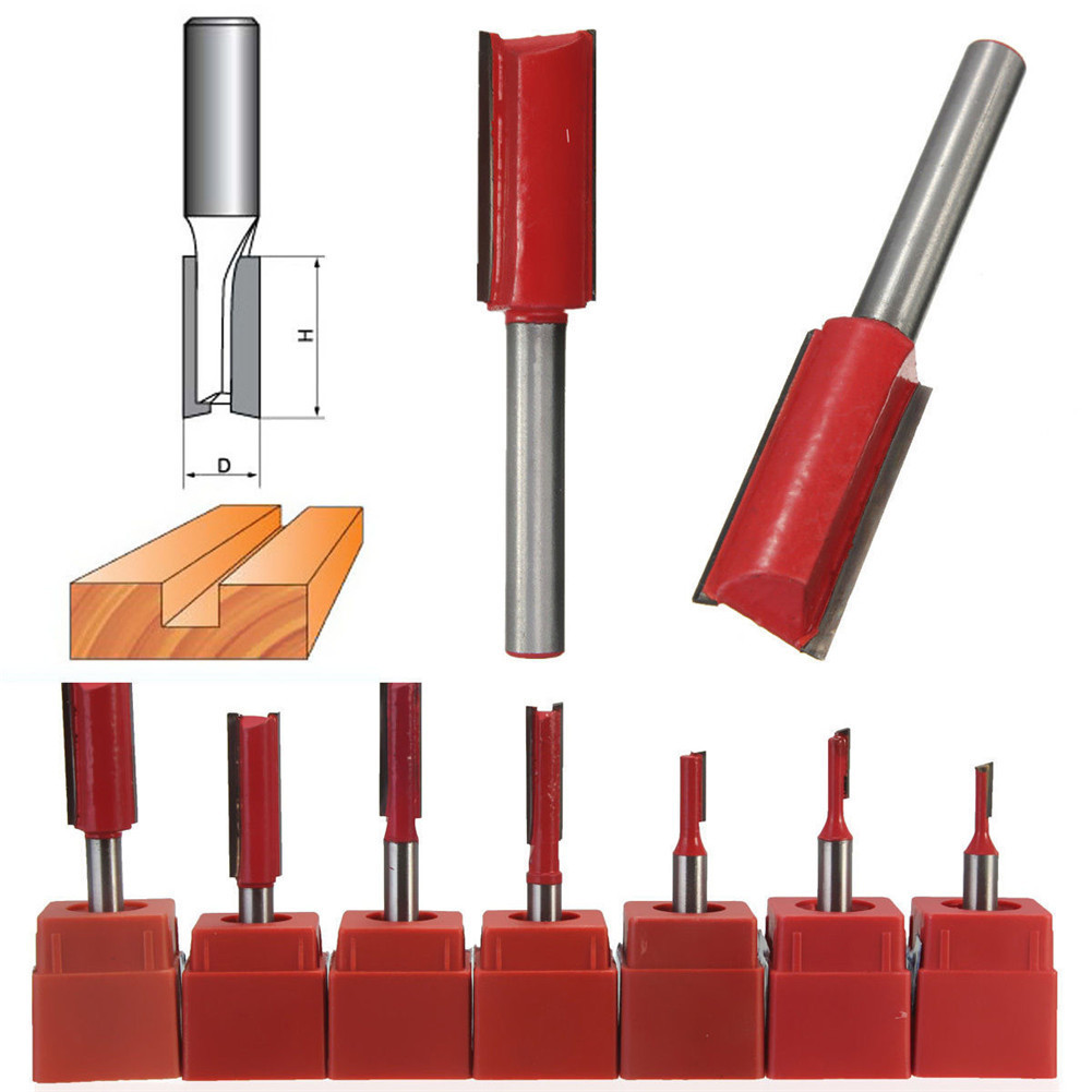 1/4 Shank 1/8-1/2 Blade Woodworking Double Flutes Straight Router Bit Cutter Tool Carving Woodworking Trimming Router Bit