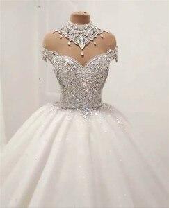 Image 3 - Custom Made Luxe Baljurk Pluizige Glitter Tulle Crystal Kralen Diamant Formele Trouwjurken Bruidsjurken SC12