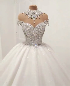 Image 3 - Custom Made Luxury Ball Gown Fluffy Glitter Tulle Crystal Beaded Diamond Formal Wedding Dresses Bridal Gowns   SC12